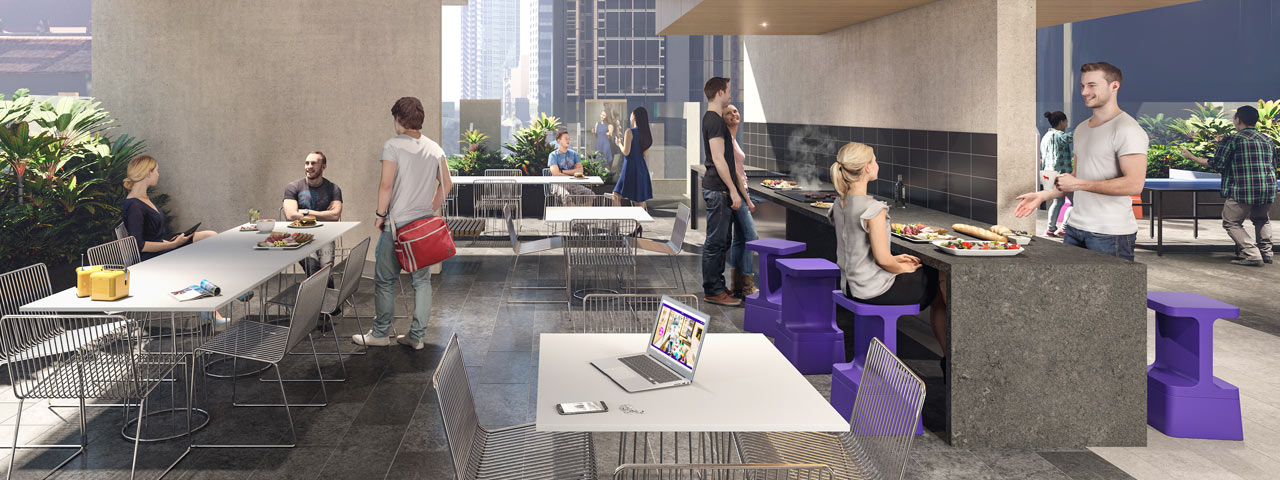 Student One Wharf Street: artist's impression of common area