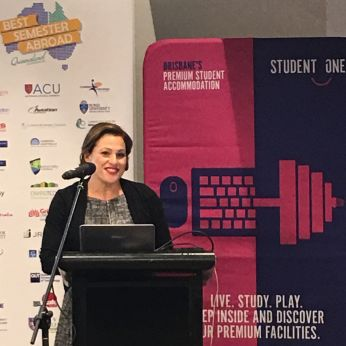 Deputy premier the hon. Jackie Trad MP announces winner of 'best semester abroad' campaign live at Student One