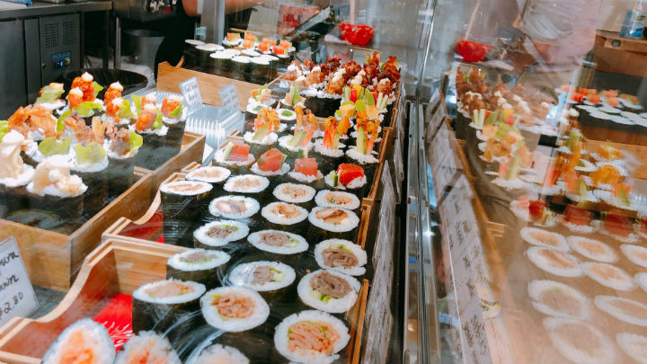 Sushi in glass cabinet