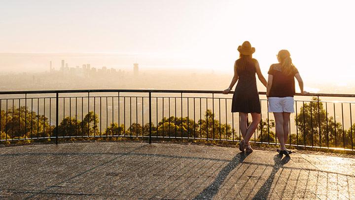 Views of Brisbane city skyline from a deck