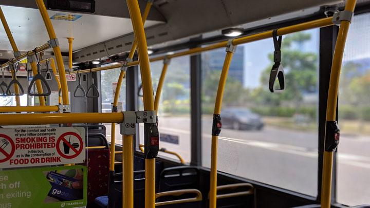 Inside of a Brisbane bus