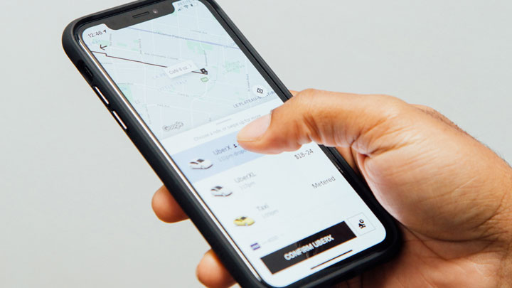 Uber app on iPhone