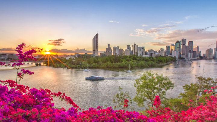 Sunset over Brisbane City