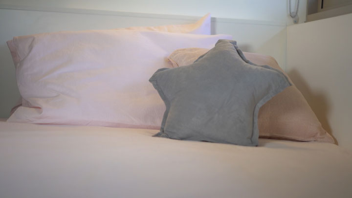 Cushions on a bed